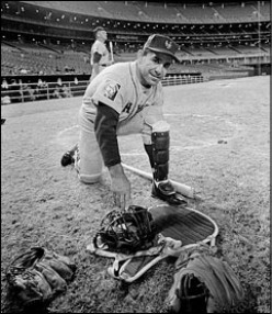 Yogi Berra with his catching gear.