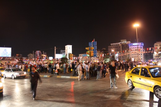 Demonstrators in Taksim Square