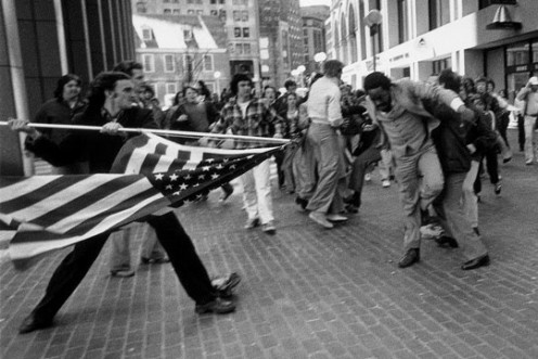 This photograph is perhaps the most well-known from the riots that occurred in Boston in 1974 over the decision to bus students between neighborhoods.