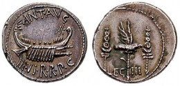 Standard of the Third Legion on a coin minted by Mark Antony