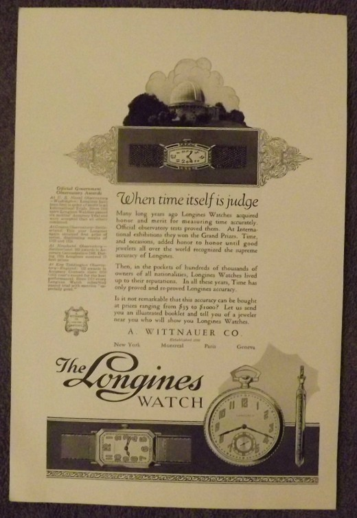 1925 Longines Watch Ad
