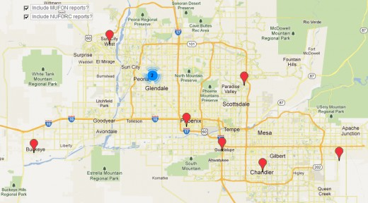 Sightings Concentrations in and Around Phoenix, AZ for the 30 days ending 4/24/12.