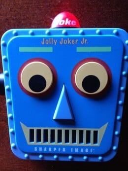 This is our grandparent life saver! It tells jokes for you and also laughs at the right time.