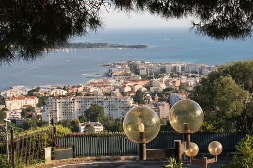 Île Sainte-Marguerite, in the Bay of Cannes(where The Man in the Iron Mask was imprisoned) from Haute Cannes.