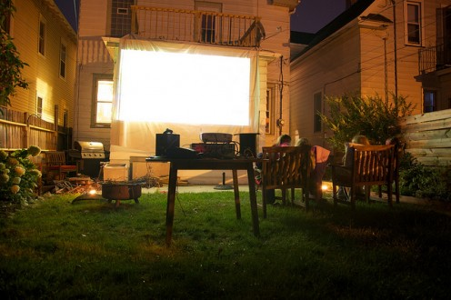 This backyard movie screen made out of a sheet produced a great result.