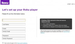 Enter your name, e-mail address and the password you want to use for your Roku account.
