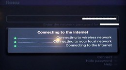 After entering your network password, the Roku player will connect to the Internet.