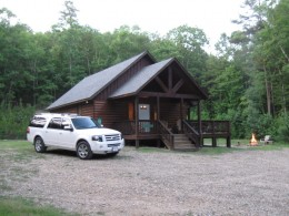 This is one of the more private, secluded cabins but it only sleeps 4.  It has private ATV trails nearby and quick access to Three Rivers National Forest.