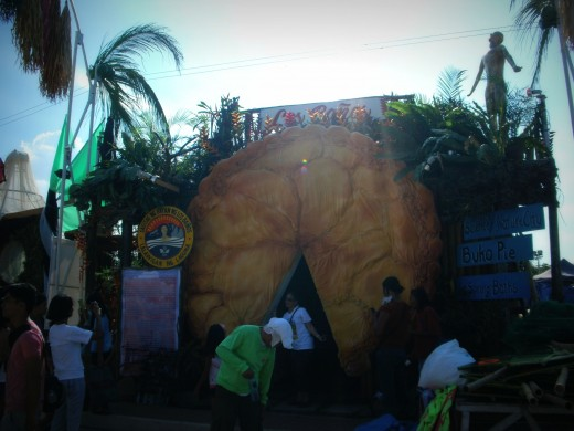 The Nature and Science City of Los Banos featuring the giant Buko Pie door, Mt. Makiling on the top and the UP oblation.