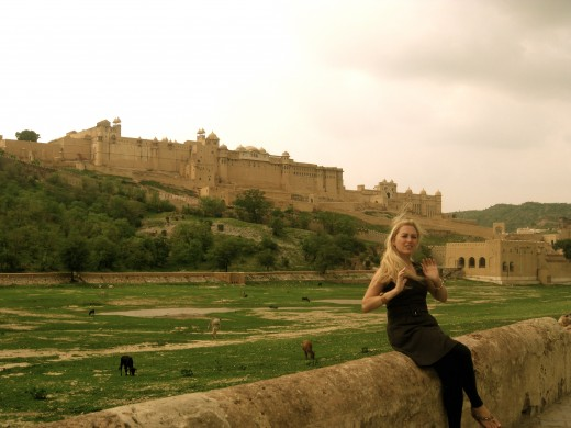 The article's author in front of the Amer Fort, located just about seven miles from Jaipur. The fort is also a palace and was built back in the 16th century.