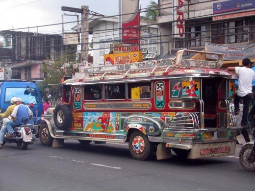 Jeepney -  most common means of transportation  in Manila. Originally the Jeepneys were made of leftover U.S. army Jeeps after the 2nd world war.