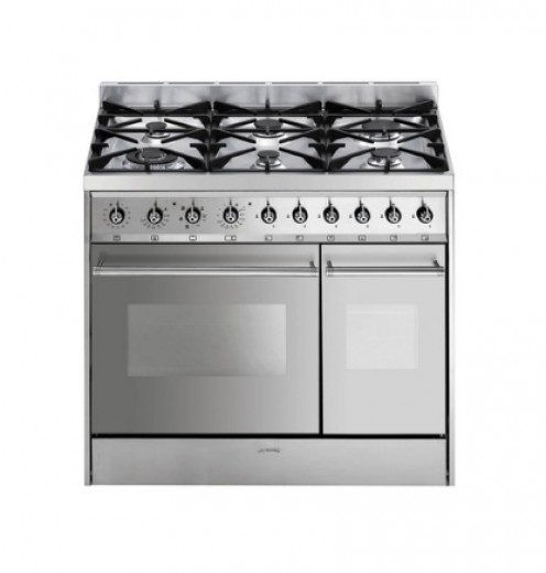 SMEG range cooker with electric fan ovens and extensive gas hob