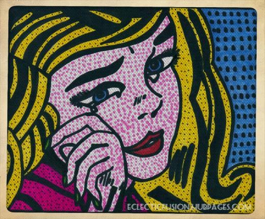 """My interpretation of Roy Lichtenstein's """"Crying Girl"""". Done with Sharpie."""