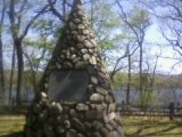 Monument stating this was the Shantok village of the Sachem Uncas, on the banks of the Thames River, Uncasville, CT