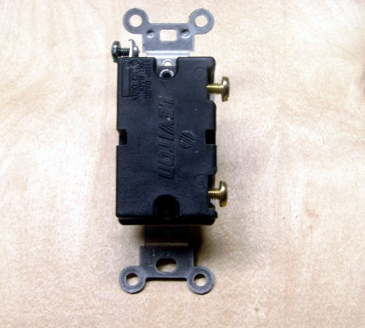 A 20 amp switch, found in some homes.  Note that there are no holes in the back to push wire into; they must be connected to the screw terminals