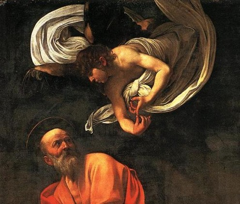 Caravaggio Call Of Matthew. The Inspiration of St. Matthew