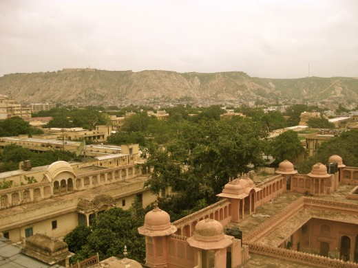 A view of the Amber Fort from Hawa Mahal