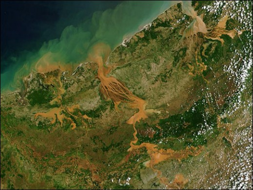 Photo courtesy of Nasa, which shows soil flowing into the Mozambique Channel.