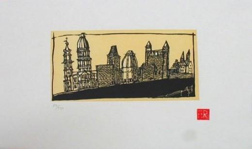 """Maastricht"" 1996,  an original block print by Aldo Rossi"