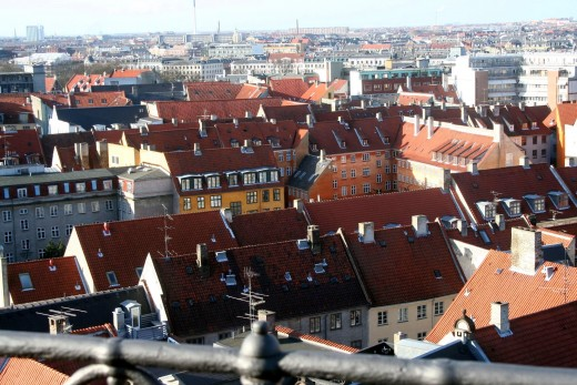 Copenhagen, Denmark, as it looks from the roof of the Round Tower