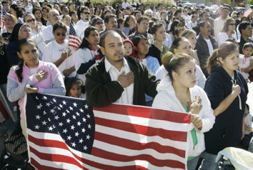 New Americans being sworn in.