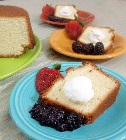 Pound Cake Topped with Blackberries, Strawberries and Whipped Cream
