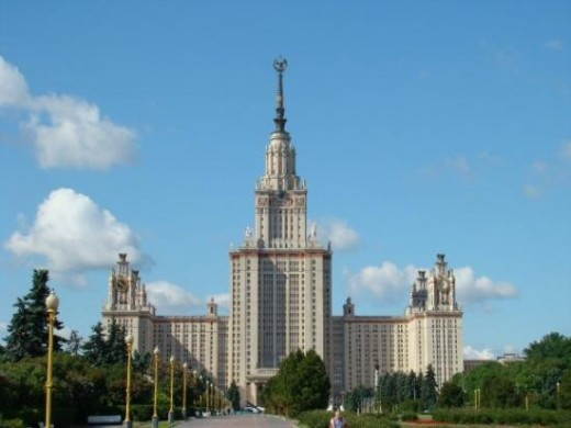 "Moscow State University, built in a similar ""wedding cake"" style to the one in Warsaw"