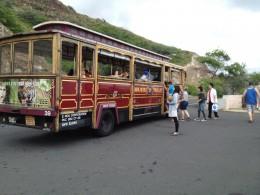 The green trolley line stops near several serene Waikiki beaches.