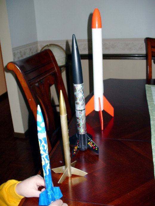 My two boys made these rockets.  See the other photo of some being launched off.