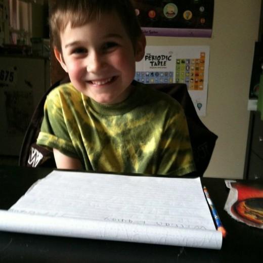 Practicing penmanship