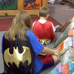 Superheroes at local book store