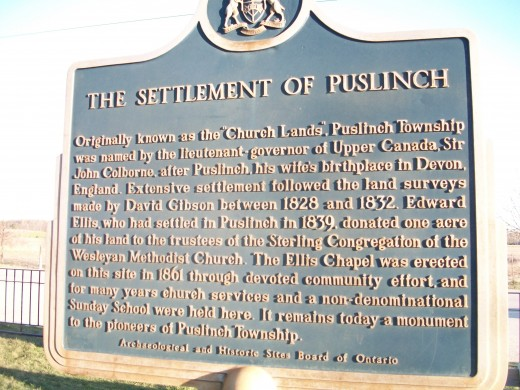 Historical plaque, Settlement of Puslinch