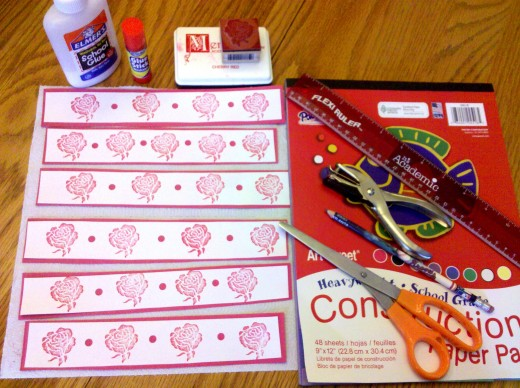 Use these supplies to make the cupcake wrappers.