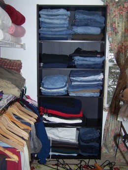 Shelf for jeans.
