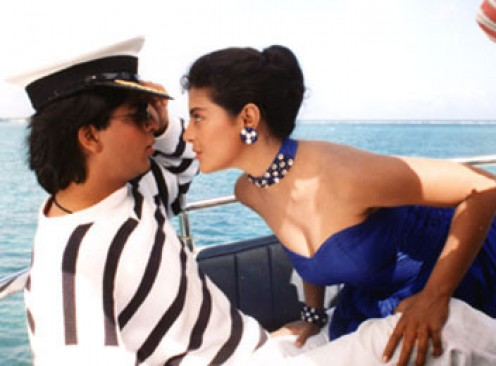 Kajol and Shahrukh Khan in Baazigar.