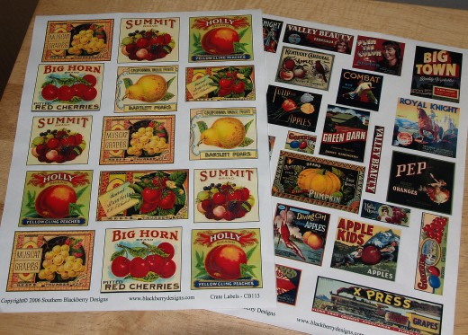 Sheets of decoupage paper on which fruit crate labels and vegetable crate labels are printed.