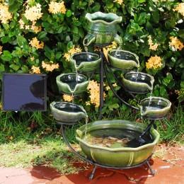 Duo Green Ocean Solar Cascade Fountain