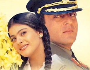 Kajol and Sanjay Dutt in Dushman.