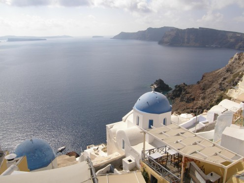 the volcanic island of Santorini has prized produce available and a favorite spot of mine.