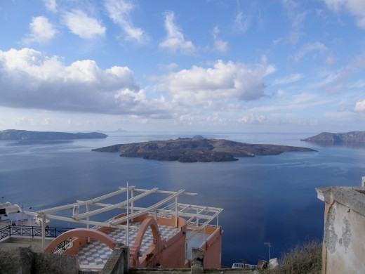 view to Nea Kameni from Fira