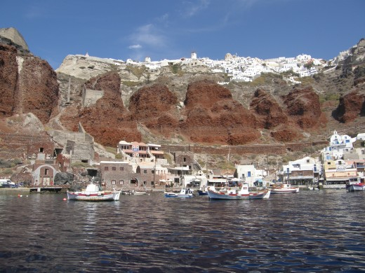 Oia (on the top) and Amoudi (next to the sea)