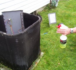 Serve a good helping of cleaner to the coil exterior.