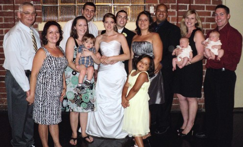 My husband, myself, our 4 children, three son-in-law's, daughter-in-law and four grandchildren.