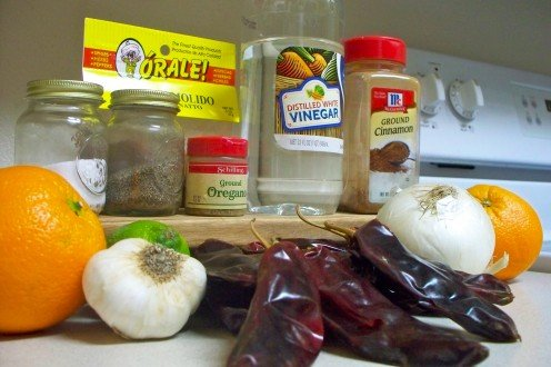 Ingredients for the achiote marinade.