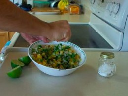 Combine fresh grilled pineapple, 1/2 bunch cilantro, 1 cup onion, 2 to 6 limes (juiced), and salt to taste.