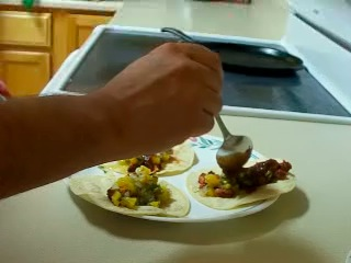 Prepare Tacos Al Pastor:  Meat, Pineapple Relish, & Salsa Taquera