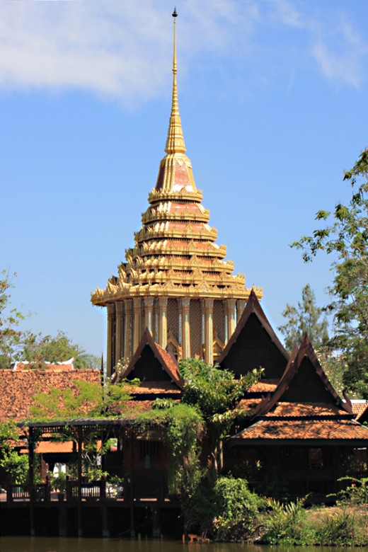 This is a life size reproduction of a mondop (temple housing icons) of the Ayutthaya period. The original stands in Uttaradit Province in Northern Thailand