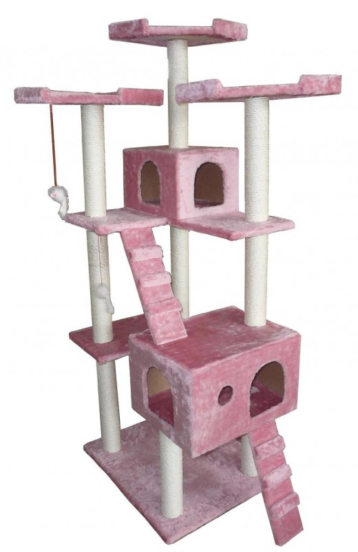 "Pink 73"" Cat Tree Pet House"