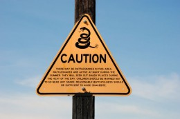 Signs like this warn of rattlers in the area.
