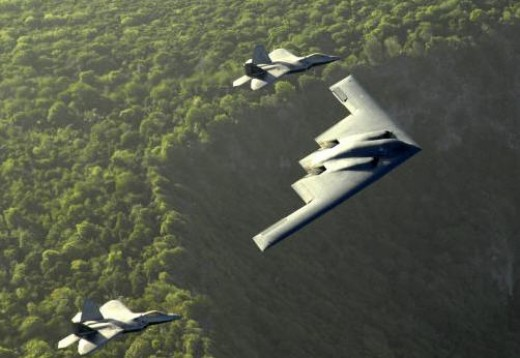 F-22's escorting the B-2. Iran is messing with some real bad boys, USAF.
